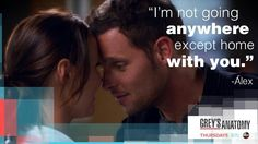 """""""I'm not going anywhere except home with you."""" Alex Karev to Jo Wilson, Grey's Anatomy quotes Alex Grey, Meredith Grey, Tv Show Quotes, Movie Quotes, Jo Wilson Grey's Anatomy, Alex And Jo, Grays Anatomy Tv, Grey Quotes, Memorial Hospital"""