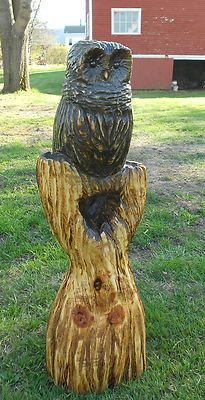 """32"""" Chainsaw Carved Owl Tree Wood Carving Hand Carved Rustic Statue Sculpture 