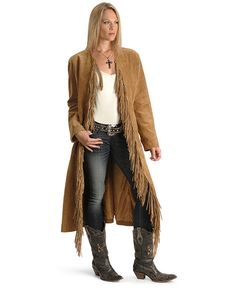 Fringe Suede Leather Duster