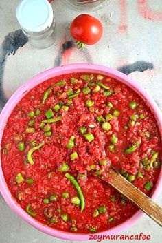 Sauce Pickled Pepper - Zeymuran Cafee Recipes - pickled tomatoes and peppers - Pickled Tomatoes, Turkish Recipes, Ethnic Recipes, German Recipes, Mezze, Turkish Kitchen, Different Vegetables, Breakfast Items, Fish Dishes