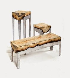 DESIGN FETISH: Richly Textured Furniture Created by Fusing Aluminum and Natural Wood