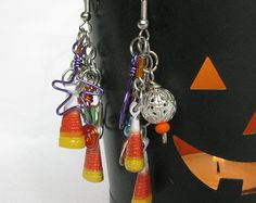 Accessorize for Fall with Halloween Earrings with Candy Corn Beads by PurpleDotBoutique