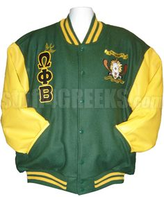Forest green Omega Phi Beta Letterman Varsity Jacket with gold sleeves, hummingbird Greek letters down the right, and the crest on the left breast.