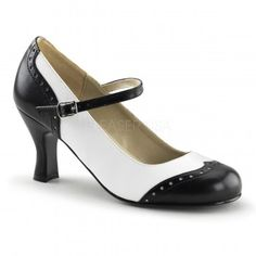 Flapper Black White Spectator Mary Jane - New at GothicPlus.com Price: $42.00  The comfortable 3 inch kitten heel makes these perfect Mary Janes for just about any outfit or occassion. In black and white Spectator style pattern wth perferated trim and buckled cross strap. All man-made materials with padded insole and non-skid sole.  #gothic #fashion #steampunk