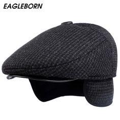 81577049370 2017  EAGLEBORN  New Autumn Winter Mens Hats Beret Caps Dad Hat Cotton  plaid Beret