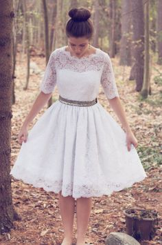 Tea length, illusion lace wedding gown