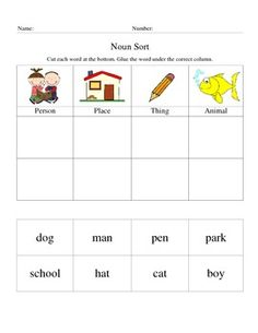 Cut and Paste noun sort with picture columns. Teaching English Grammar, English Grammar Worksheets, Apple Clip Art, Teacher Classroom Decorations, Kindergarten Coloring Pages, Nouns Worksheet, Grammar Activities, Compound Words, K 1