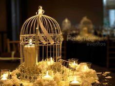 Centro de mesa para boda con jaula - Wedding centerpiece with cage - Paloma Cruz