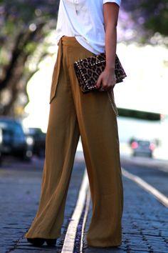 clutch bag, pantalones palazzo, animal print