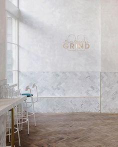 Total Exchange Grind, London @royalexchangegrind  Biasol: Design Studio @biasoldesign  Photo by Paul Winch-Furness @paulwf (Via Yellowtrace @yellowtrace ) #coffee #cafe #cafedesign #restaurantdesign #interiordesign #floor #flooring #parquet #herringbone #tiles #tiling #marble #royalexchangegrind #biasoldesignstudio #menu @menuworld #stool #stools #simplicity #simple #paredback #cleanlines #interiors #instainteriors #minimalism