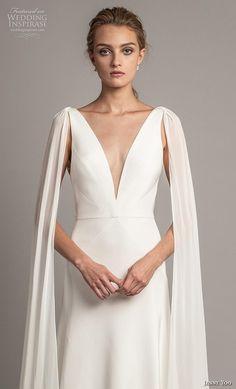 fa54f76d2f6 jenny yoo spring 2019 bridal long hanging sleeves deep v neck simple  minimalist elegant clean look