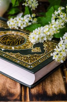 Quran - holly book of islam with spring flowers and blue scarf on wooden background. Selective focus on book ~ Education Photos ~ Creative Market Muslim Images, Islamic Images, Islamic Pictures, Quran Wallpaper, Islamic Quotes Wallpaper, Nature Wallpaper, Allah Islam, Islam Quran, Duaa Islam