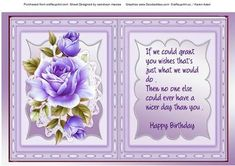 Incert with verse and lilac roses  on Craftsuprint designed by Ceredwyn Macrae - A lovely incert with Verse and roses to compliment any card there is a matching Decoupage sheet to go with this design please see the Related sheet , - Now available for download!