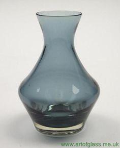 Riihimaki Scandinavian Finnish steel blue vintage glass vase