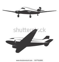 Set of airplane icons isolated on white background Design elements for logo, label, emblem, sign. Vector illustration