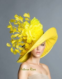 Chapeau jaune Kentucky Derby, Preakness chapeaux, chapeau melon Couture, chapeau melon jaune, chapeau de printemps