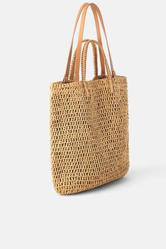 ZARA – Female – Woven paper shopper – Natural – M, – Purses And Handbags For Teens Purse For Teens, Collection Zara, Net Bag, Peep Toe, Straw Tote, Vintage Purses, Vintage Bag, Summer Bags, Shopper Bag