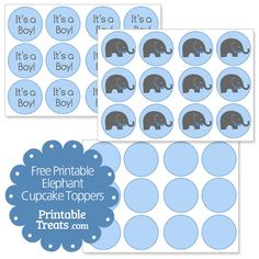 Free Printable Elephant Cupcake Toppers - Printable Treats