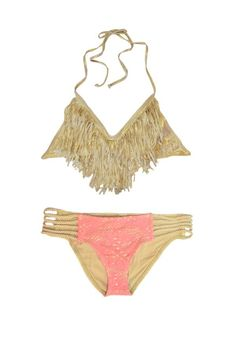 Swimwear 'Golden Barbie' Fringe Bikini