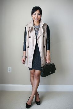 sleeveless trench: F21 (similar, with leather sleeves) | top: Asos | skirt: T by A.Wang | shoes: YSL | bag: Chanel (vintage here) | bracelets: Yurman (7mm in onyx & pearl) | necklace: Francesca's boutique (similar) | belt: F21 (old)
