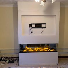 Zigis Fireplaces - Premier Retailer of Gas & Electric Fires in Essex Kitchen Feature Wall, Feature Wall Living Room, Living Room Tv, Living Room Decor Fireplace, Fireplace Tv Wall, Fireplace Design, Living Room Ideas Studio, Living Room Designs, False Wall