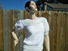 Vintage Ladies Candy Stripe Pastel Yoke Sweater by BlackRain4, $64.99