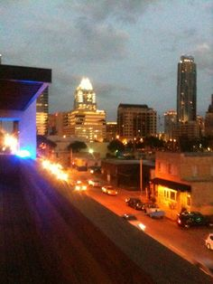 Night time shot third floor downtown Austin Texas.