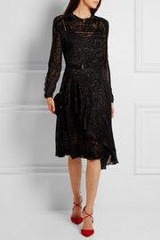 Amendine lace-trimmed devoré-chiffon dress