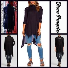 "Free People Black Tunic Oversized Cape Pullover  NEW WITH TAGS   ***Model photos utilized in this listing were found on www.lyst.com Free People Mock Neck Turtleneck Swing Top Tunic A-line Mini  * Relaxed & flowy fit; Lightweight loose knit fabric, oversized  * Mock neck & long sleeves,  semi pleated  * Lightly 'washed feel'  * About 32.5"" long  * Hem drapes on sides  Fabric: 53% Cotton, 37% & 10% Rayon Color: Black 95200  No Trades ✅Offers Considered*✅ *Please use the blue 'offer' button to…"