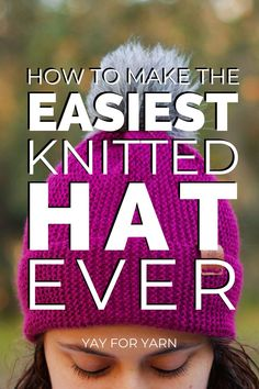 The Easiest Knitted Hat Ever (Made from a Rectangle!) - Free Knitting Pattern by Yay For Yarn Beanie Knitting Patterns Free, Beanie Pattern Free, Beginner Knitting Patterns, Baby Hats Knitting, Knitting Stitches, Free Knitting, Knitting For Beginners, Easy Knit Hat, Knitted Hats Kids