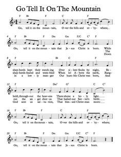 Free Sheet Music - Free Lead Sheet - Go Tell It On The Mountain - African American Spiritual #Piano