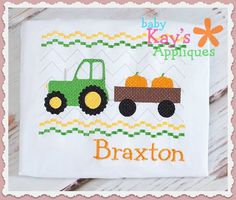 Baby Kay's Appliques - Tractor Pumpkins Faux Smock 4x4, 7x3, 7x5, $1.00 (http://www.babykaysappliques.com/tractor-pumpkins-faux-smock-4x4-7x3-7x5/)