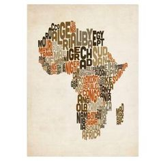 16 in. x 24 in. Africa Text Map Canvas Art MT0198-C1624GG at The Home Depot - Mobile