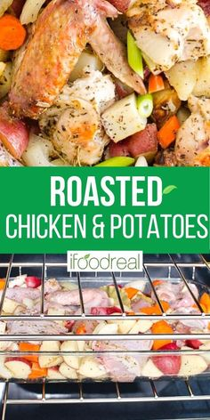 Roasted chicken thighs, potatoes, carrots and onion tossed in simple spices, garlic and oil. Then oven baked until chicken is juicy with crispy skin and onions are roasted. Major yum! Lemon Dill Chicken Recipe, Baked Chicken And Potato Recipe, Healthy Baked Chicken, Oven Baked Chicken, Dutch Oven Chicken Thighs, Oven Roasted Chicken Thighs, Roasted Chicken And Potatoes, Cabbage And Potatoes, Healthy One Pot Meals