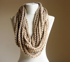 Beige crochet scarf Infinity chain scarf Oatmeal by violasboutique