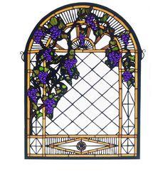 """16""""W X 22""""H Grape Diamond Trellis Stained Glass Window"""