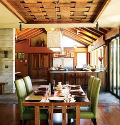Wooden Weave Woven baskets lend a casual feel to any room. This dining room takes homespun to heart with a basket-weave ceiling, which                          adds visual interest and texture to an often ignored space.