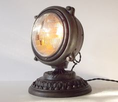 Vintage Upcycled 1940's Truck Headlight Accent Table Lamp Steampunk on Etsy, $305.00