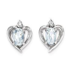 14k White Gold Aquamarine Diamond Earring