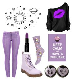 Purple Dreams by thegodoframen on Polyvore featuring polyvore fashion style Boutique Moschino Dr. Martens Smashbox women's clothing women's fashion women female woman misses juniors