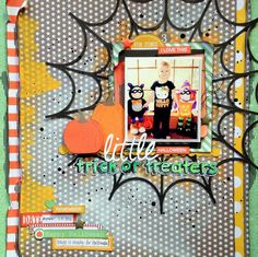 Little Trick or Treaters by Missy Whidden - Scrapbook.com - Turn non-themed product into a perfect Halloween layout with orange medium and die cut pumpkins and web.