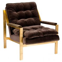 Cameron Modern Brown Velvet Chair Gold (Sale Until Brown is Sold)