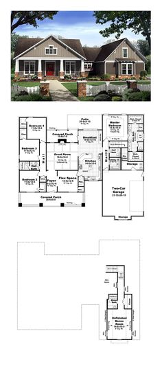 96 best Country House Plans images on Pinterest   Country homes     Country House Plan 59198   Total Living Area  2400 sq  ft   4
