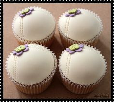 Stitched White with Purple & Green Flower Cupcakes
