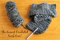 The Easiest Crocheted Scarf Ever. Uses one skein and a simple stitch. | LifeAfterLaundry.com