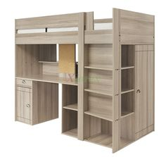Gami Largo Teen Loft Beds Canada with Desk and Closet are new designed awesome loft beds for teenage girls and boys that are made in France by Gautier Furniture. They include a European single bunk bed with perforated panel bedbase, desk, closet, bookshelf, stairs, cupboard, and drawer. Your teenagers will have a lot of fun with these cool loft beds.