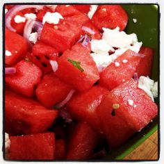 watermelon and goat cheese with mint--the goat cheese might actually make me eat watermelon Goat Cheese Recipes, Goat Cheese Salad, Salad Dressing, Just Desserts, Watermelon, Delish, Healthy Recipes, Healthy Food, Side Dishes