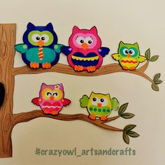 Mural de pared con familia de buhos (papis y 3 hermanos) / owl familly tree for wall decoration - crazy owl arts&crafts (instagram, facebook, pinterest)