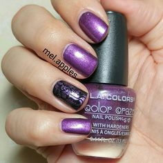 L.A. Colors Color Craze - Interstellar CNP695. Rich purple with silver shimmer. This is two coats, but it will easily cover in one coat. Great formula, smooth application, no brushstrokes. Definitely reminds me of more expensive polish. This one is a winner! Stamped over black on ring finger.