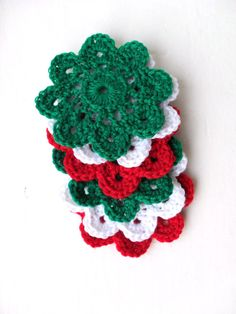 6 flower crochet coasters in Christmas colours by YellowSherbet